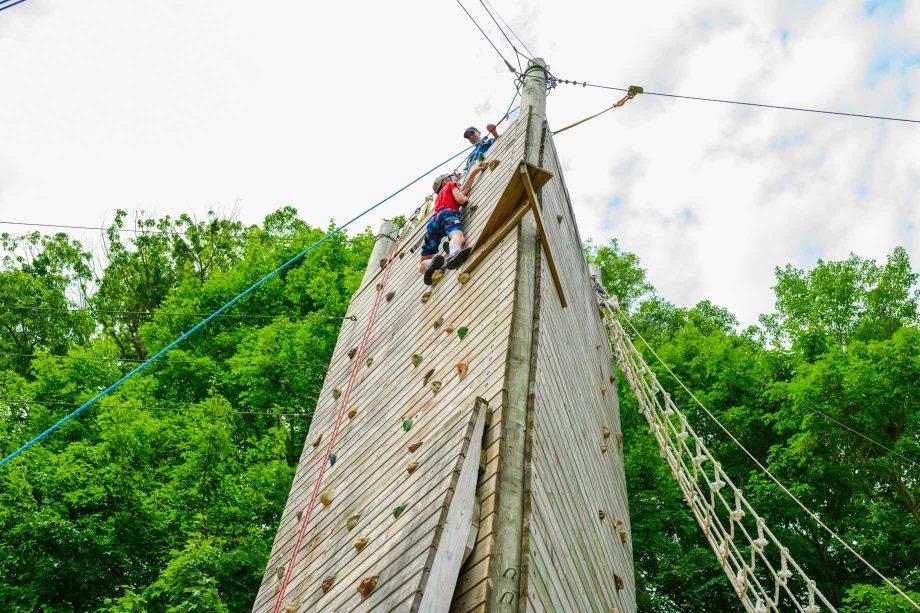 Climbing up rock tower