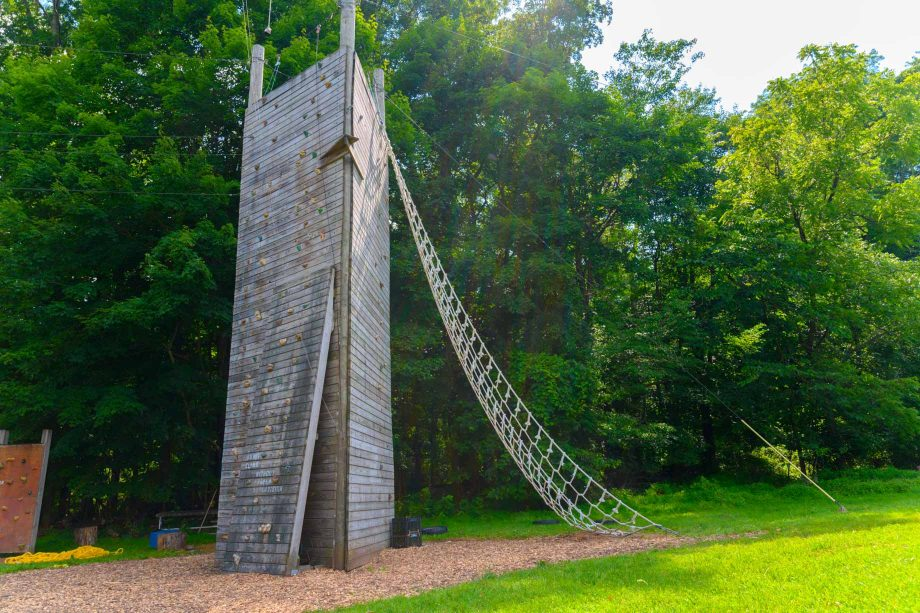 Climbing tower and rope ladder