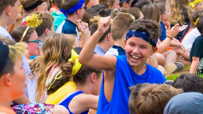 Campers cheering during color war
