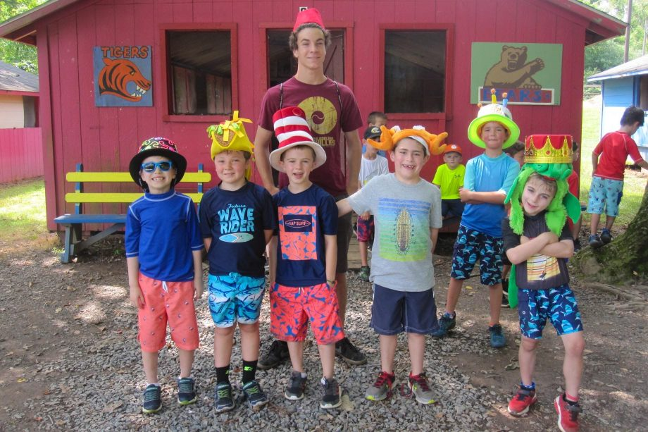 Campers participating in Crazy Hat Day